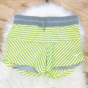 Nike Dri Fit Green-Gray Shorts Built In Shorts XS